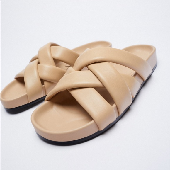 Zara Quilted Strap Leather Sandals